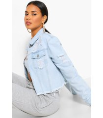 cropped distressed jean jacket, light blue
