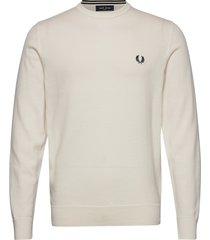 classic c/n jumper stickad tröja m. rund krage beige fred perry