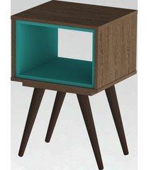 mesa lateral retrã´ 40 rustik olivar marrom/azul - marrom - dafiti