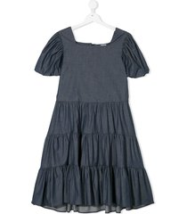piccola ludo teen tiered chambray dress - blue