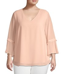 plus ruffled-sleeve v-neck top