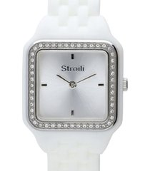 orologio cinturino policarbonato bianco, cassa acciaio, ghiera argento e strass per donna