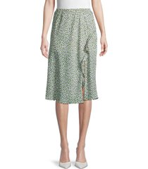 dress forum women's floral-print midi skirt - jade green - size l