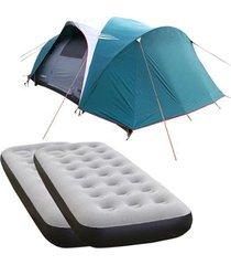 barraca camping nautika laredo até 9 pessoas + 2 colchões solteiro inflável fit ecologic