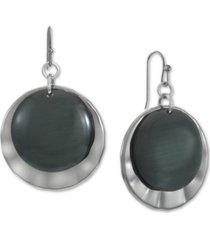 hematite-tone black disk drop earrings