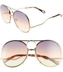 women's chloe vicky 61mm round aviator sunglasses - gold/ grey orange yelow/ brown