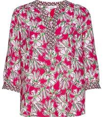 blouse 3/4-sleeve blus långärmad rosa gerry weber