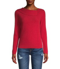 nic+zoe women's roundneck overlay sweater - crimson - size xl
