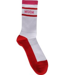 msgm white and red cotton socks