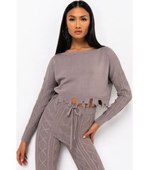 akira queen of cozy cable knit detail sweater