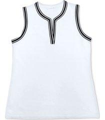 charter club sleeveless split neckline top, created for macy's