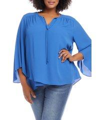 plus size women's karen kane tie neck bell sleeve top, size 1x - blue