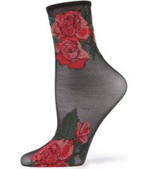 women's beauty rose garden sheer see-through ankle socks