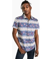 crwth men's war & peace classic-fit floral geo-stripe shirt