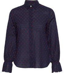 d1. smock dot dobby shirt overhemd met lange mouwen blauw gant