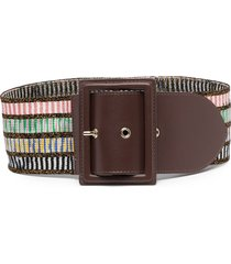missoni striped-knit buckle belt - brown