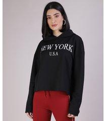 """blusão em moletom feminino """"new york"""" com capuz preto"""