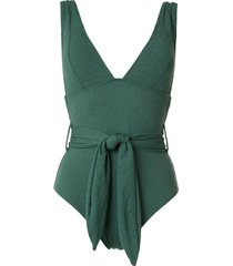 peony sash belt one piece - green