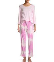 natori women's 2-piece solid & tie-dye pajama set - coral - size m