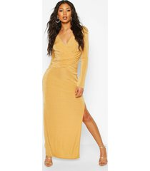 textured slinky wrap detail split maxi dress, gold
