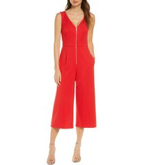 women's forest lily sleeveless gaucho jumpsuit, size x-large - red