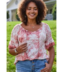 maurices plus size womens pink tie dye embroidered trim peasant top
