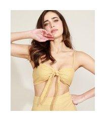 top cropped feminino mindset estampado xadrez vichy com nó alça fina decote coração amarelo