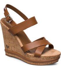 corp leather wedge sandal sandalette med klack espadrilles brun tommy hilfiger