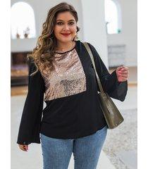plus talla blusa de manga larga de patchwork adornado con lentejuelas negras