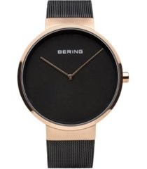 bering men's classic stainless steel case and mesh watch