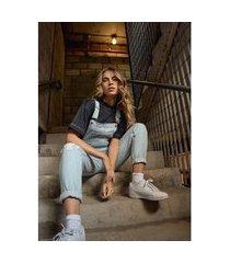 macacão jeans longo delavê gang feminino