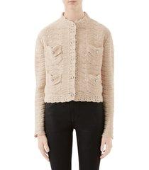 women's gucci jewel button crochet wool sweater jacket