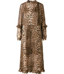 jurk met lange mouwen luipaardprint ruche