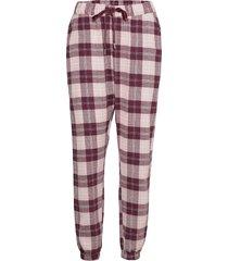 pant twill check cuff pyjamasbyxor mjukisbyxor röd hunkemöller