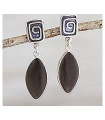 obsidian dangle earrings, 'amazing' (peru)
