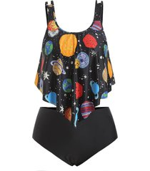 plus size starry sky print overlay tankini swimsuit