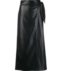 nanushka amas vegan leather sarong skirt - black