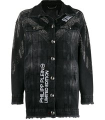 philipp plein scarface denim jacket - black