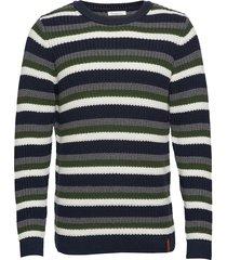 striped rib o-neck - gots/vegan gebreide trui met ronde kraag multi/patroon knowledge cotton apparel