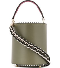 les petits joueurs braided strap bucket bag - green