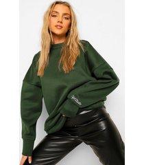 official oversized geborduurde sweater, bottle green