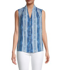 tommy hilfiger women's striped sleeveless top - gulf blue multi - size l