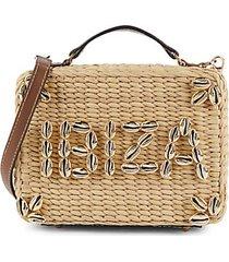 il pranzo cowrie shell-embellished straw crossbody bag