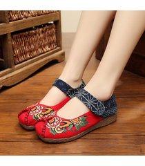 scarpe basse in tela in ricamo di peonia con velcro di stile vecchio pechino