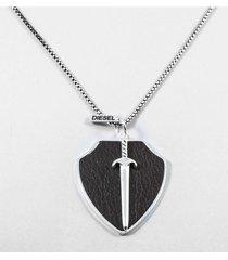 collar gris diesel cuero espada