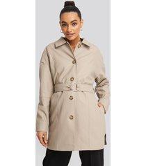 na-kd trend buckle belt pu jacket - beige