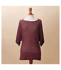 cotton blend pullover, 'open elegance in wine' (peru)
