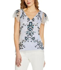 adrianna papell embellished flutter-sleeve top