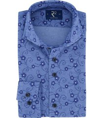 overhemd r2 blauw bloemenprint