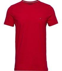 stretch slim fit tee t-shirts short-sleeved röd tommy hilfiger